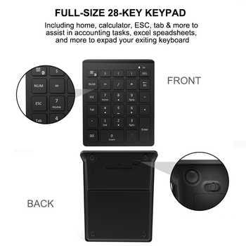 AVATTO 28 Keys Bluetooth Wireless Numeric Keypad Mini Numpad with More Function Keys Digital Keyboard For PC Accounting tasks