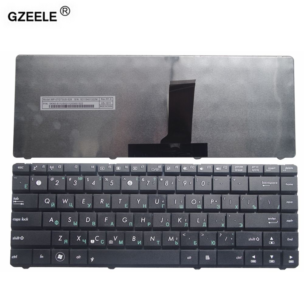 GZEELE New RU Laptop Keyboard For ASUS X42J X43 X43S N43sl B43J N43SN P43 A83S X44H U31S Replace RU Russian Keyboard Black