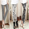 New Women Girls Leggings Ethnic Style Plaid Printed Flowers Stretchy Candy Pencil Leggings Casual Slim Fit Skinny Trousers
