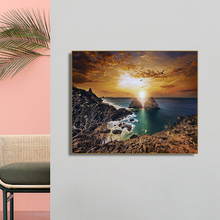 Strait Dusk Setting Sun Scenery Wall Art Canvas Painting Calligraphy Poster Print Decorative Picture for Living Room Home Decor
