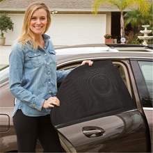 Protection Rear Car Window Adjustable Sun Casual Shield 2Pcs Black Auto Side Shade Mesh Visor