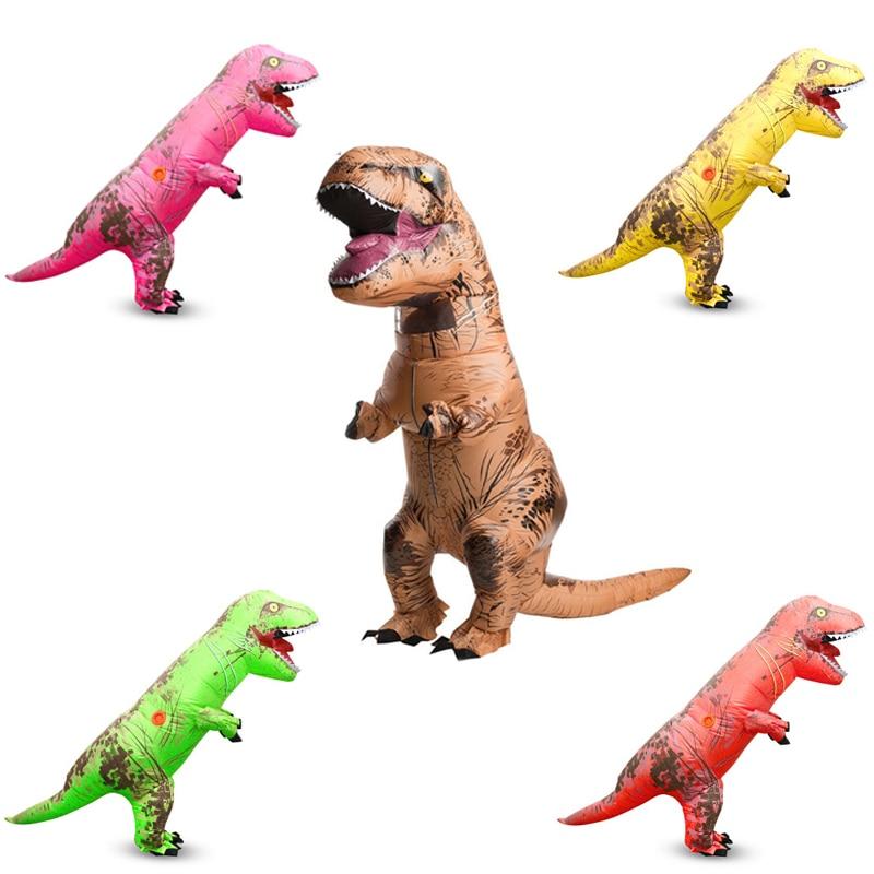 5 barv NAVOJNI Dinozaver T REX Kostumi za odrasle otroke 2 m Blowup - Karnevalski kostumi