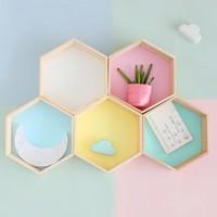 2018 New 2pcs/set Wood Hexagon Wall Decoration Living Room/Bedroom Wall Hanging Storage Box Polygon Wooden Plants Shelf