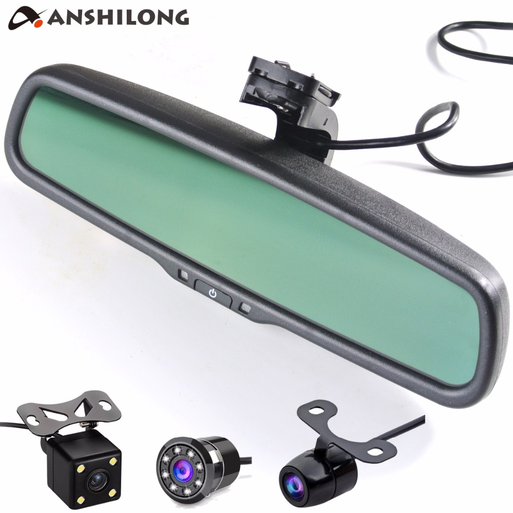 ANSHILONG Car Rear View Parking System Kit with Auto Dimming Mirror 4.3 800 * 480 Monitor and Night Vision Waterproof Camera