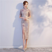 Purple Summer New Chinese Style Party Dress Elegant Female Sheath Long Qipao Vintage Lace Sexy Flower Cheongsam S XXL