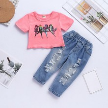 2019 New Baby Girls Print T-Shirt Tops With Hole Jeans Suits Casual Outfits Sets Sweet Toddler Girl Clothes