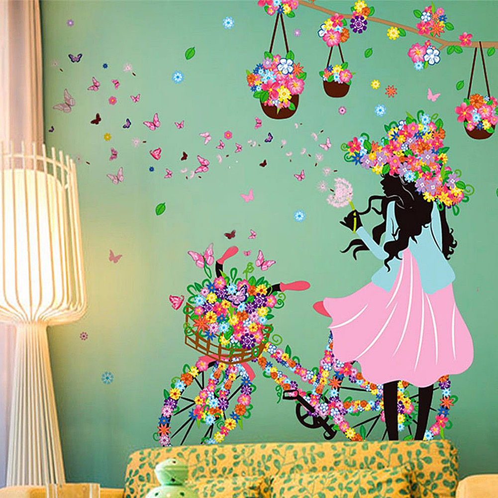 Aliexpress buy 2017 flowers butterfly fairy girl design wall aliexpress buy 2017 flowers butterfly fairy girl design wall sticker diy removable decal poster art home kids girl room decor 4 styles from reliable amipublicfo Gallery