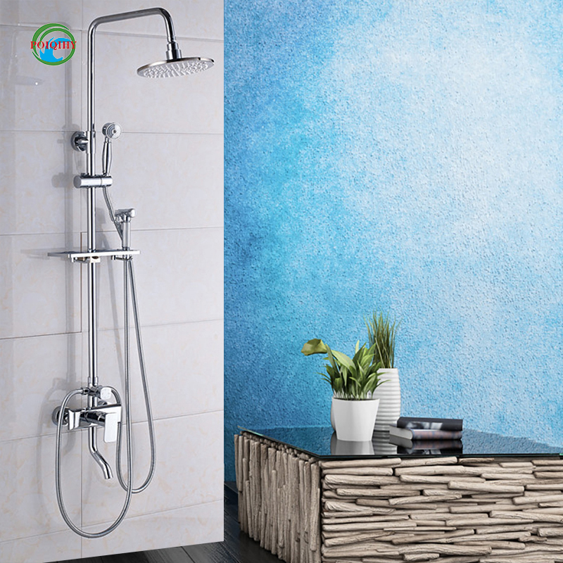 Multiple Sizes solid lPolished Bathtub Bathroom Mixer Tap Shower Faucet with Light Round Shower Head+Handheld head