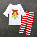 Fashion White Color 0-5Years Kids Sleepwear Christmas Tree Pajama Set T-shirt+Pants 2pcs Clothing Sets Baby Christmas Suits