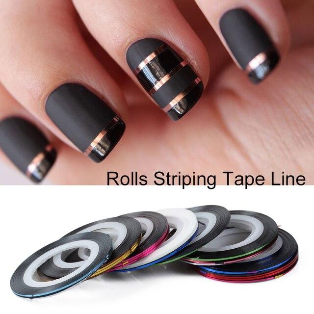 Saviland 10 Teile/satz Gemischte Bunte Schönheit Nagel Rolls-klebeband-linie DIY Nägel Kunst Aufkleber für Nagel Werkzeuge Dekorationen