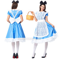 Alice in Wonderland Cosplay Costume for Women Lolita Dress Lace Maid Loaded Water Blue Maid Service COS Anime Costumes for Women