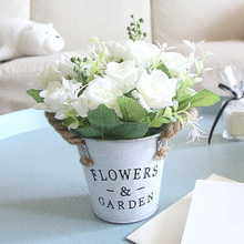 Mini Bonsai Plant Real Touch Fake Flowers Artificial Silk Rose Flowers with Iron Pot for Wedding Decoration Home Garden Decor