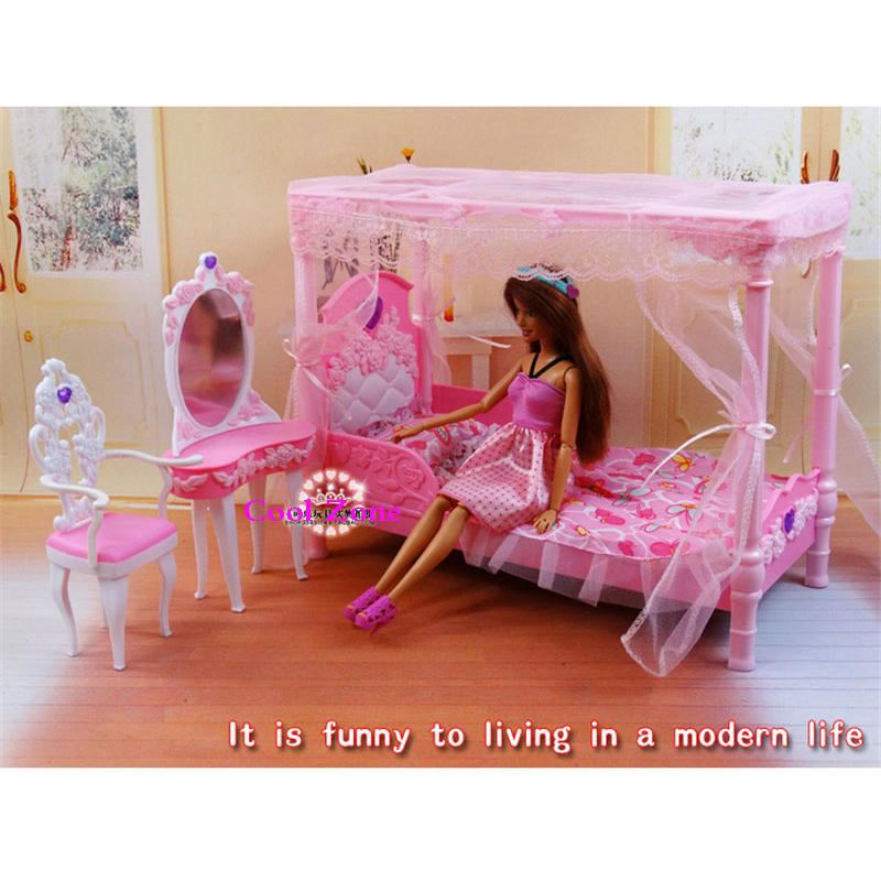Miniature Furniture Dreamy Rose Bedroom For Barbie Doll House Classic Toys For Girl Free Shipping