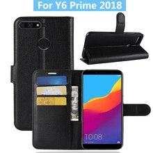 Đối với Huawei y6 thủ 2018 Trường Hợp Nắp Che Lật Da Điện Thoại Trường Hợp Đối Với Huawei Honor 7A Pro/Thưởng Thức 8E Ví da Đứng Bìa