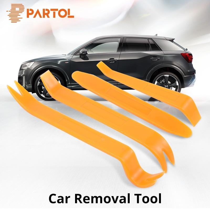 Partol 4Pcs Car Disassembly Tools Auto DIY Pry Repair Tool Kit Radio Panel Interior Door Clip Panel Trim Dashboard Removal Tool