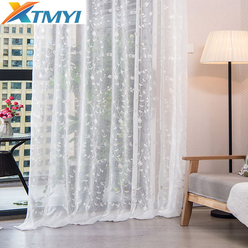 Pastoral Embroidered Linen Curtains For Living Room White Tulle Curtains Sheer Volie Window Bedroom Lace Curtains Fabrics Drapes