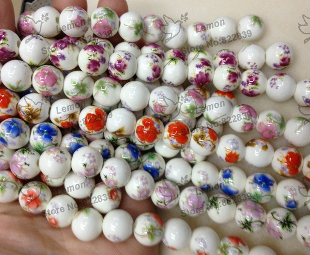 Drop shipping wholesale High quality 200pc/lot  8mm color round beads Porcelain decal ceramic Jewelry Accessories
