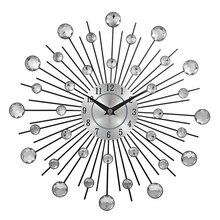 Vintage Metal Crystal Sunburst Wall Clock Luxury Diamond Large Morden Da Parete Design Home Decor Wandklok