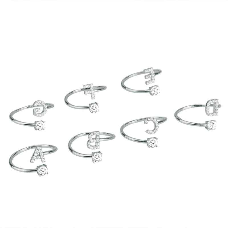Cruz de ouro feminino 26 letras anel de prata para festa strass dedo aberto anéis de noivado feminino anel de zircão jóias de casamento