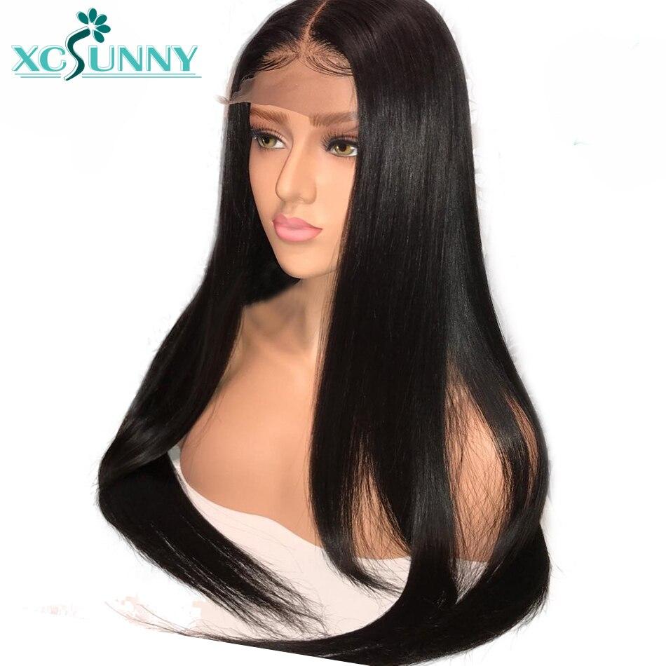 Xcsunny cabelo Reto de seda 5x4.5 Base De Seda Rendas Frente Perucas de Cabelo Humano Com o Cabelo Do Bebê Pré Arrancadas Linha do Cabelo Peruano Cabelo Remy
