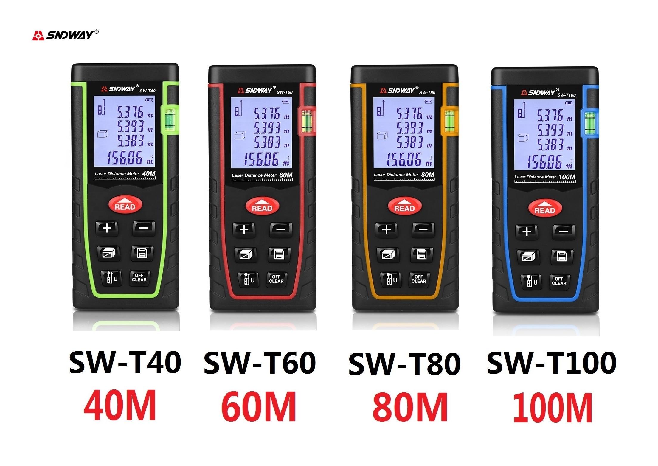 SNDWAY Laser-distanzmessgerät 40m 60m 100m 120m Laser Messgerät SW-T40 SW-T60 SW-T80 SW-T 100 maßband Laser Distanc