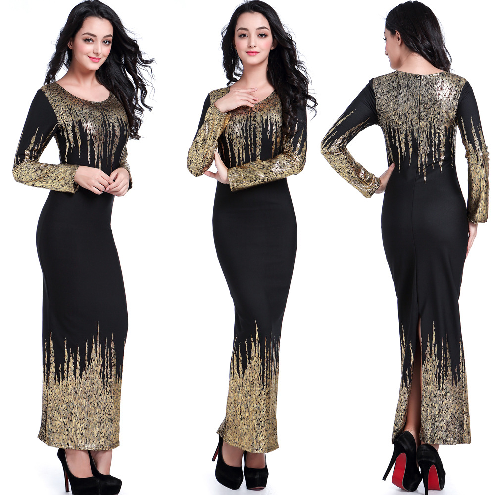 African Women Clothing Women New Traditional Bazin Riche 2019 American Reality Show Bronzing Bubble Cotton Long Sleeved Dress