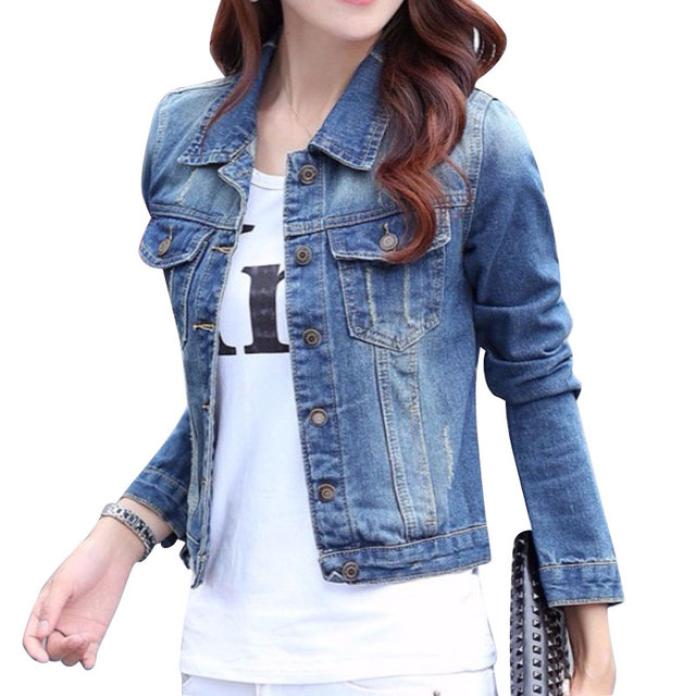 e065416f7 Long Sleeve Denim Jackets Women Tops Custom made Street 2017 Short ...