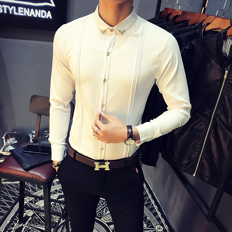 Men's White Shirt Pleated Solid Slim Fit Tuxedo Shirts Male Long Sleeve England Style Casual Social Prom Dress Shirt For Men