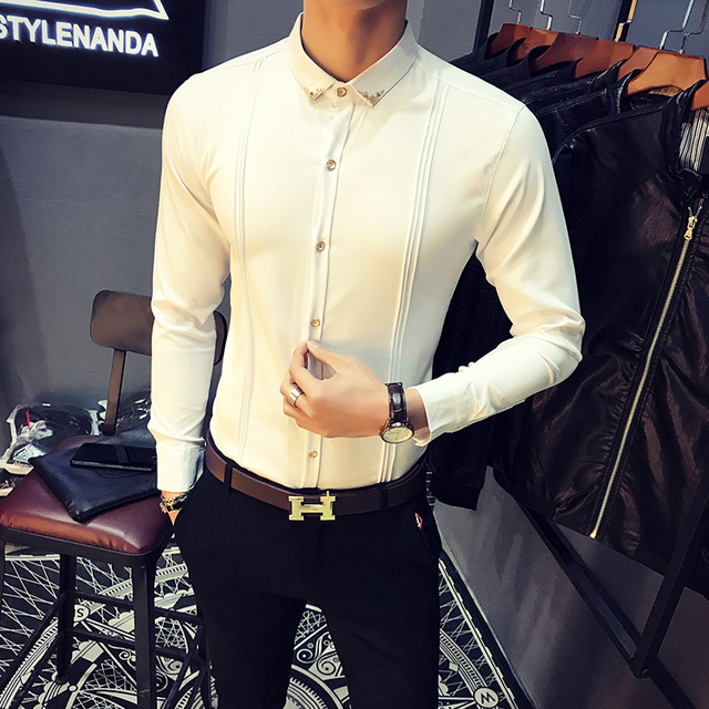 Mens White Shirt Pleated Solid Slim Fit Tuxedo Shirts Male Long Sleeve England Style Casual Social Prom Dress Shirt for Men