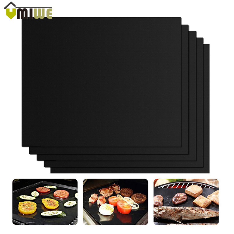 5pcs TEFLON BBQ Grill Mats barbecue pad Reusable NON-Stick Surface Hot Plate Mat Baking Microwave Oven Outdoor BBQ Accessories Гриль