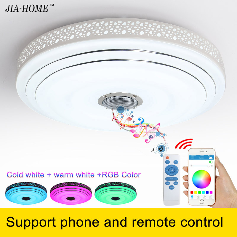 Bluetooth flush mounted LED ceiling light for bed room with loudspeaker phone and remote ...