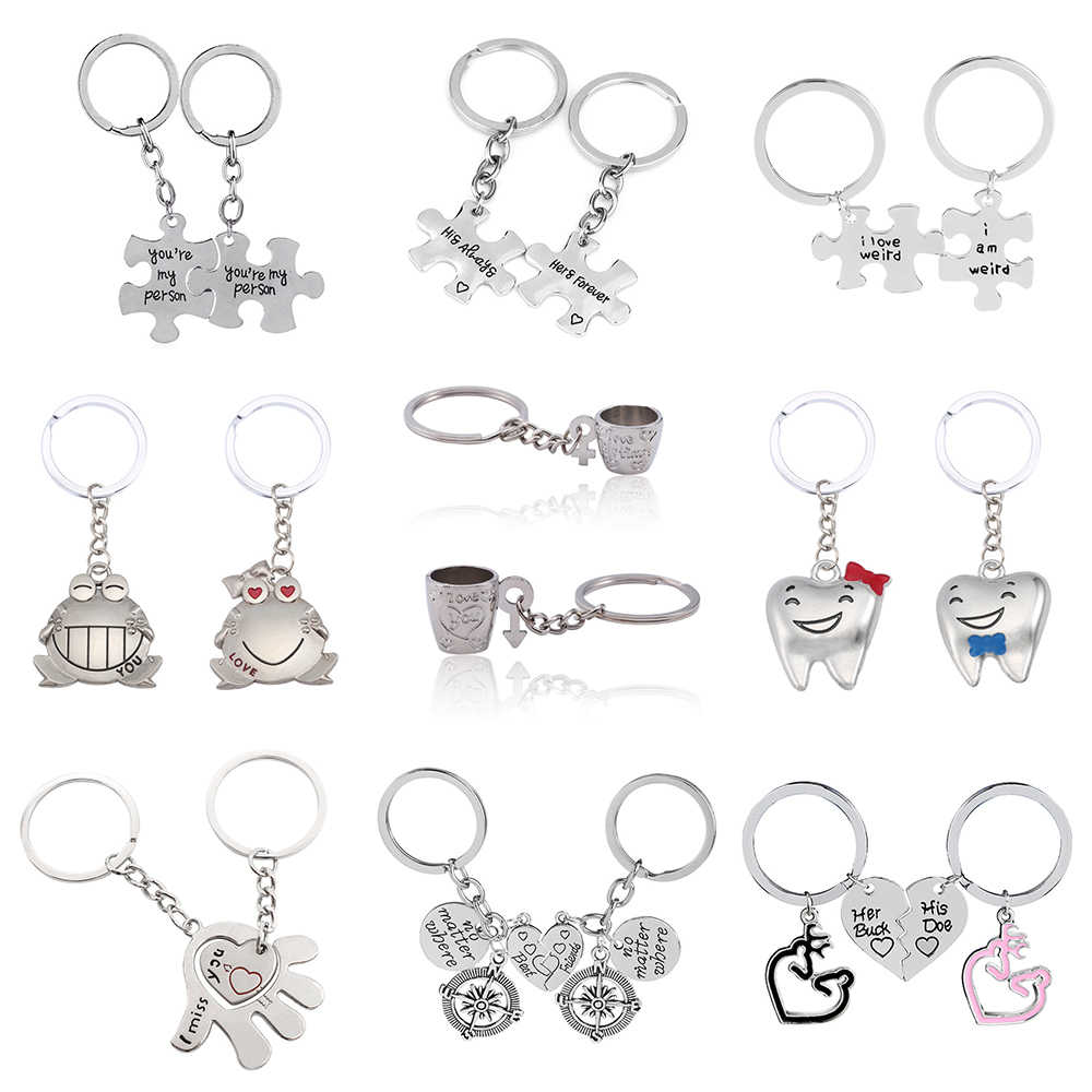 b598a1022d Fancy&Fantasy 2pcs/Set Love Couple Keychain You Are My Person Frog Cups Key  Chain Animal