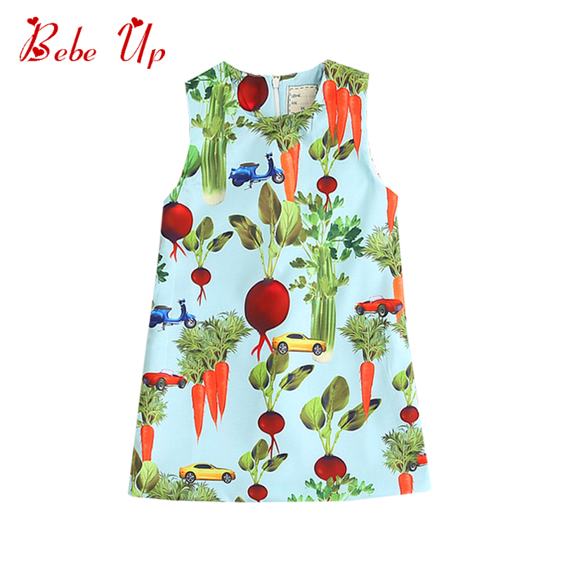 Children Dresses Summer 2018 A-line Clothing Girl Carrot Print Kids Clothes For Sleeveless Toddler Girls Princess Party Dress
