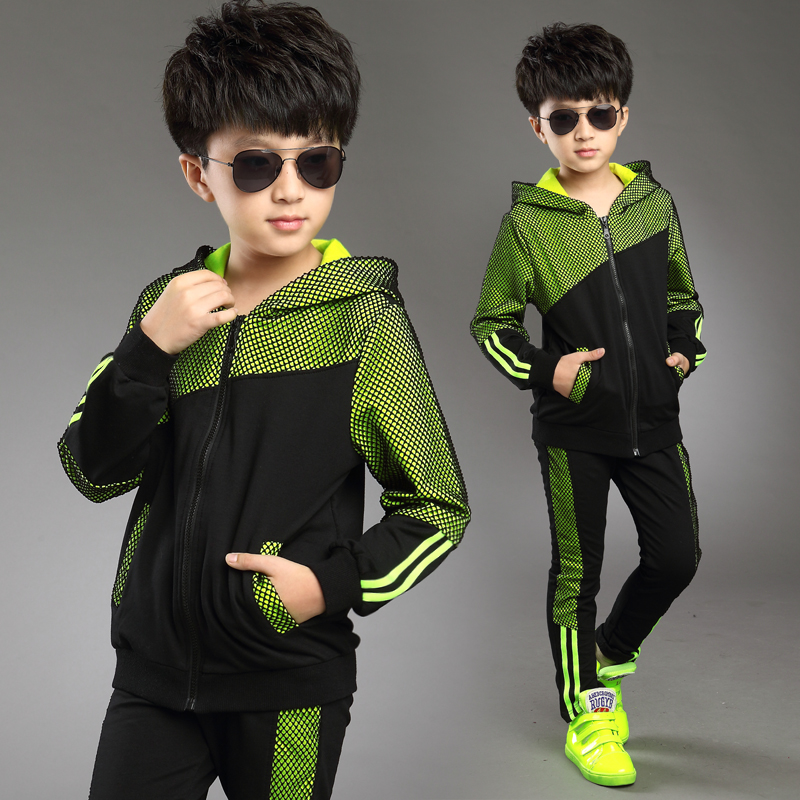 2017 New Green Boys' Clothing Set Kids Boys Sport Suits Set Spring Autumn Long Sleeve Top & Pants 2 pcs Outfits Boys Tracksuit boys camouflage sports suits 2017 new autumn cotton boys long sleeve sportswear 2 pcs set children clothing 3 5 7 9 11 14 y 6