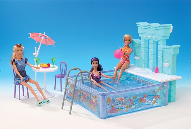 original for princess barbie pool doll accessorie 1/6 bjd doll furniture beach umbrella chair summer pool toy gift