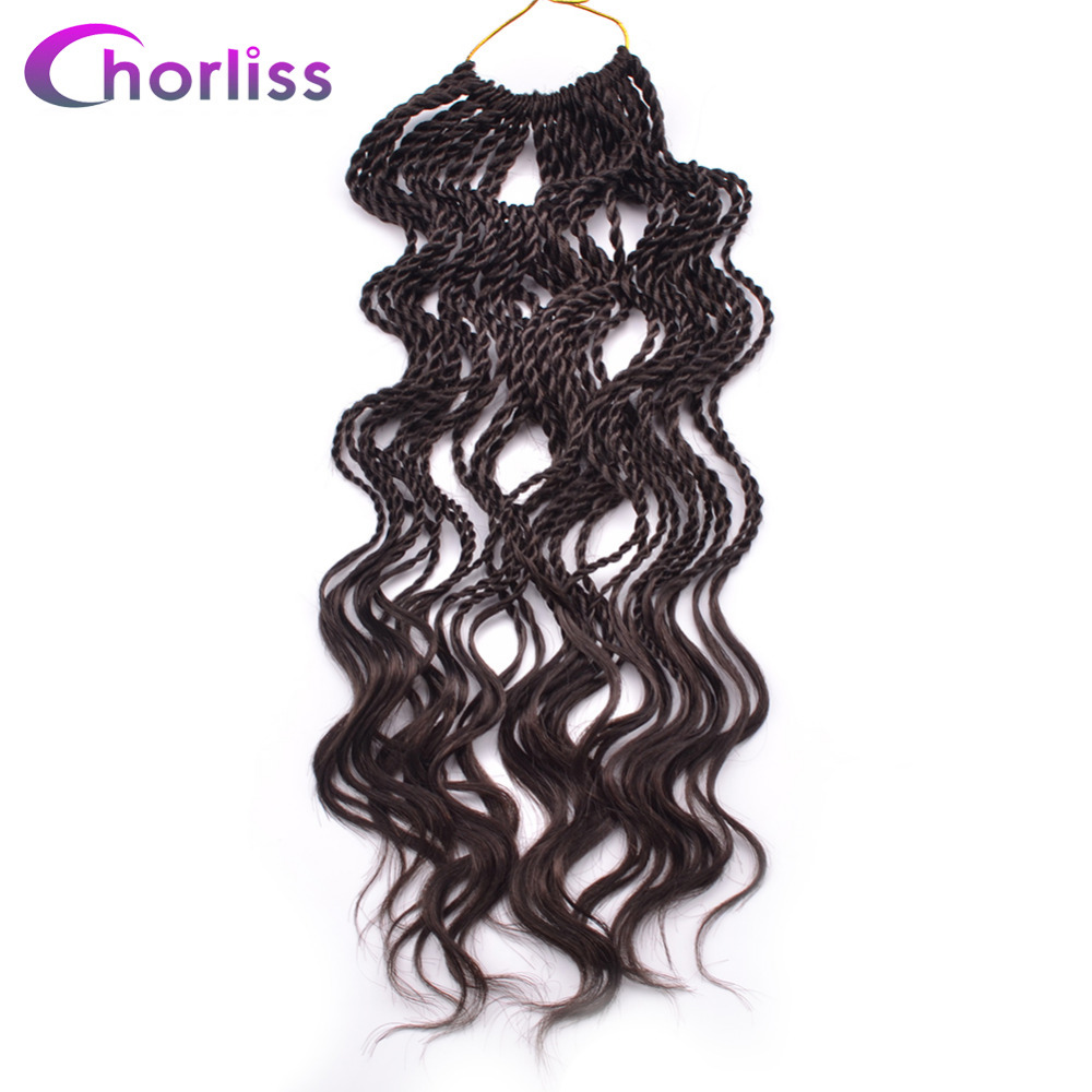 Chorliss 14 Curly Senegalese Twist 35 Roots Pack 100g Crochet Braids Synthetic Braiding Hair Extensions Pre
