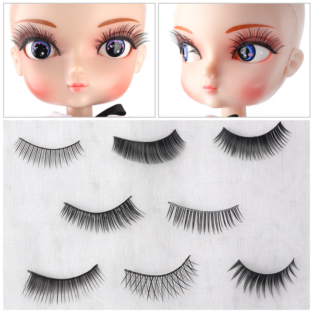 3 Pairs 1//4 Doll Accessories For Bjd Eyelashes Doll DIY Making 1 Pair 3cm