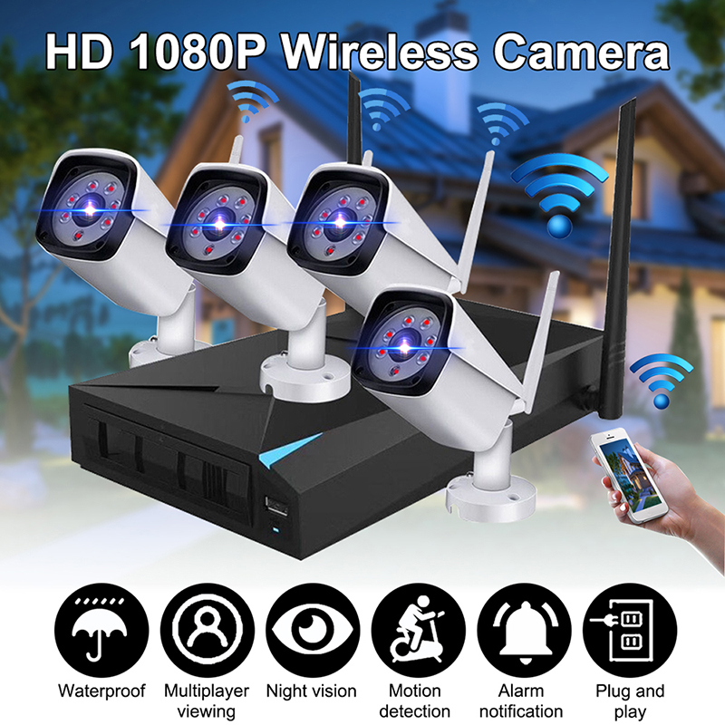 1080P 4CH WiFi Wireless CCTV Video Surveillance System NVR Kits Indoor/Outdoor IP Cameras Waterproof Motion Detection