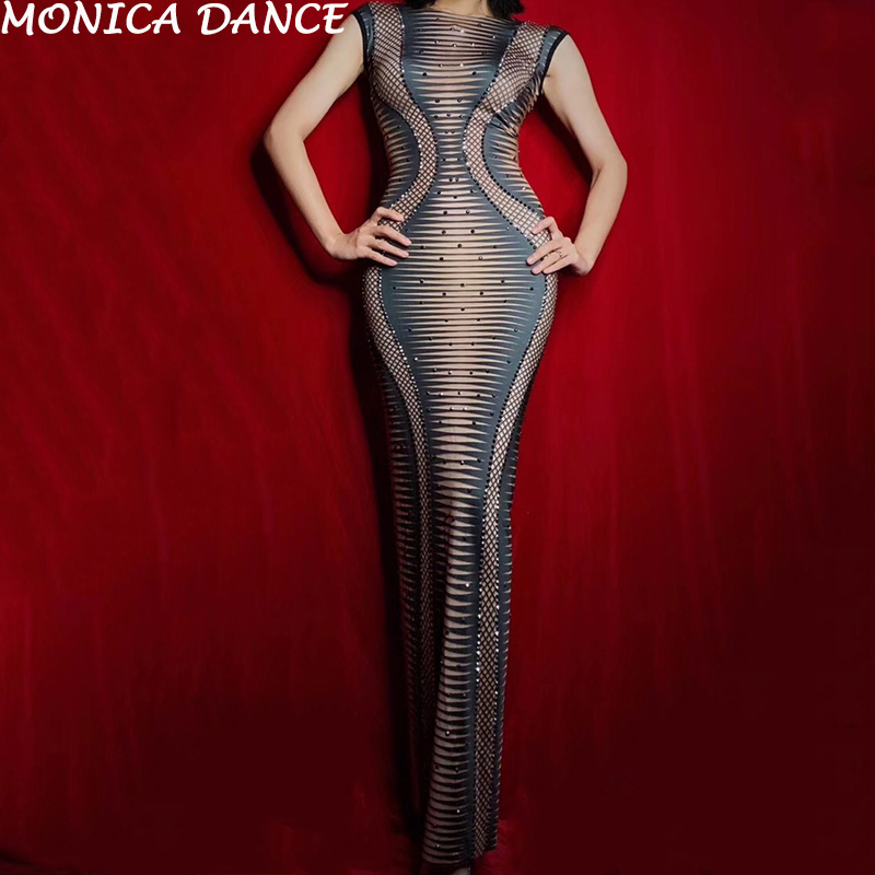 Femmes strass Spandex imprimé sans manches longue robe femmes chanteur porter discothèque fête célébrer tenue femmes danseuse robe