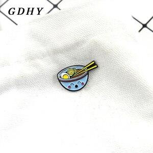 GDHY синяя миска лапша Броши Милая простая лапша суп яйцо лапша эмаль шпильки для детей рубашки лацкан рюкзак значок ювелирные изделия