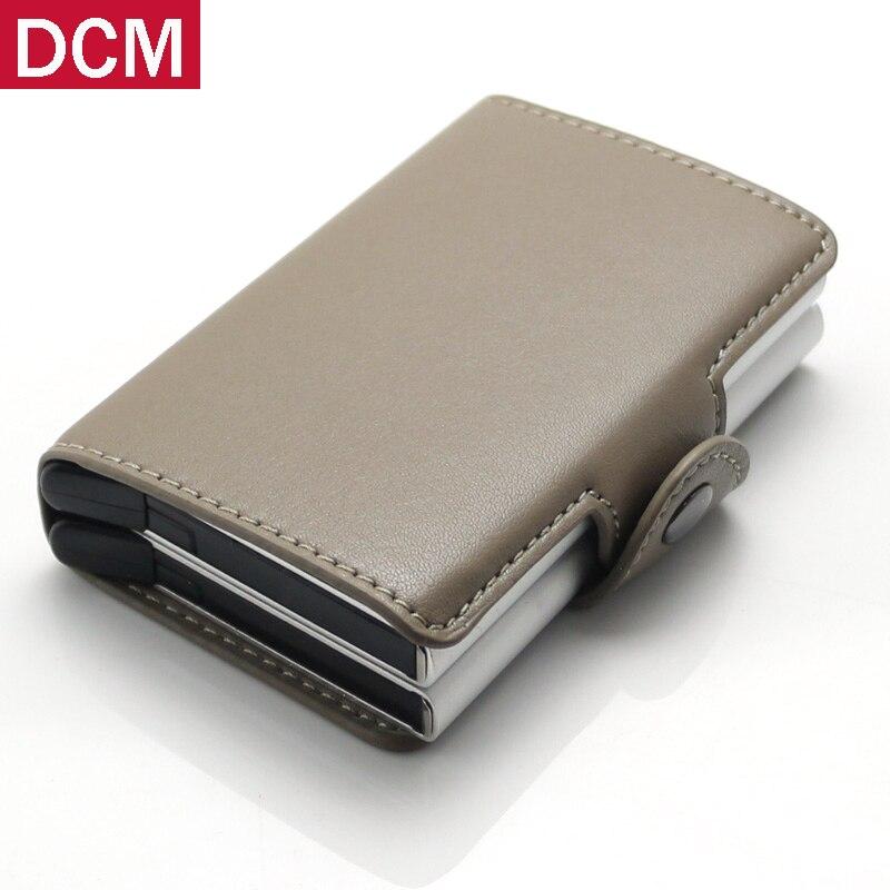 Muticolors Aluminum Double Slide Business ID Card Holders Wallet Credit Card Organizer PU leather Men RFID Wallets slide wallet