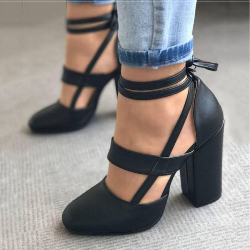 Women Pumps Plus Size 35-43 Women Heels Chaussures Femme Gladiator Summer High Heels For Party Wedding Shoes Women Thick Heels