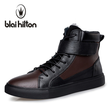 Blaibilton 100% Genuine Leather Winter Warm Velvet Ankle Snow Boots Men Shoes Fashion Cow Motocycle Casual Boot Male SDBH5853