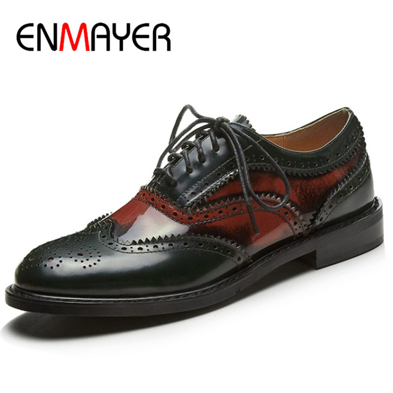 ENMAYER Brogue Shoes Lace-up Flats Shoes Woman Round Toe Size 34-39 Red Yellow Business Flats Shoe Womens pu serpentine lace up pointed toe womens flats