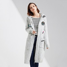 2017 Winter Coat Hoodie Knitted Fall Fashion Runway Autumn Womens Plus Size Windbreakers Long Coats Knitwear Clothing Jacket