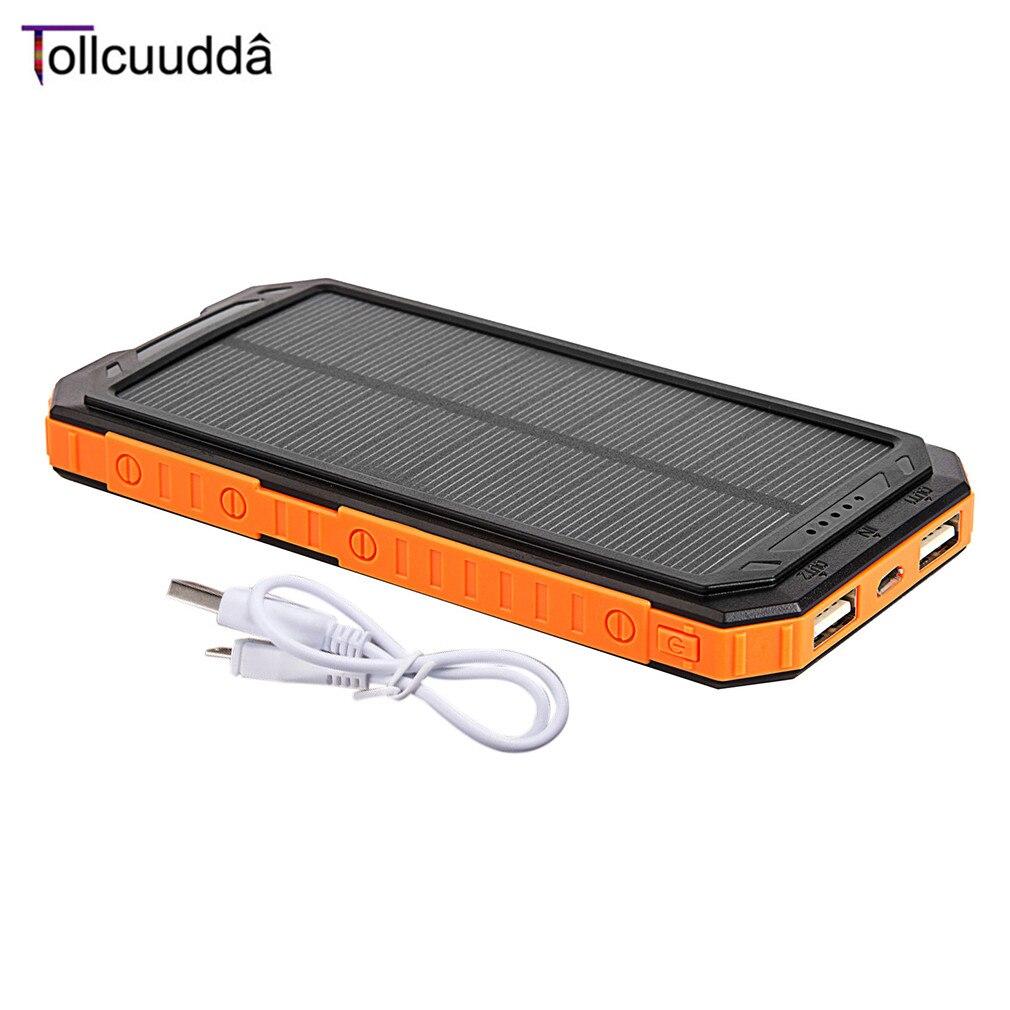 imágenes para Tollcuudda Banco de la energía 10000 mAh Paquete Externo de La Batería Portátil de Energía Solar de Doble Interfaz USB Powerbank Cargador Rápido