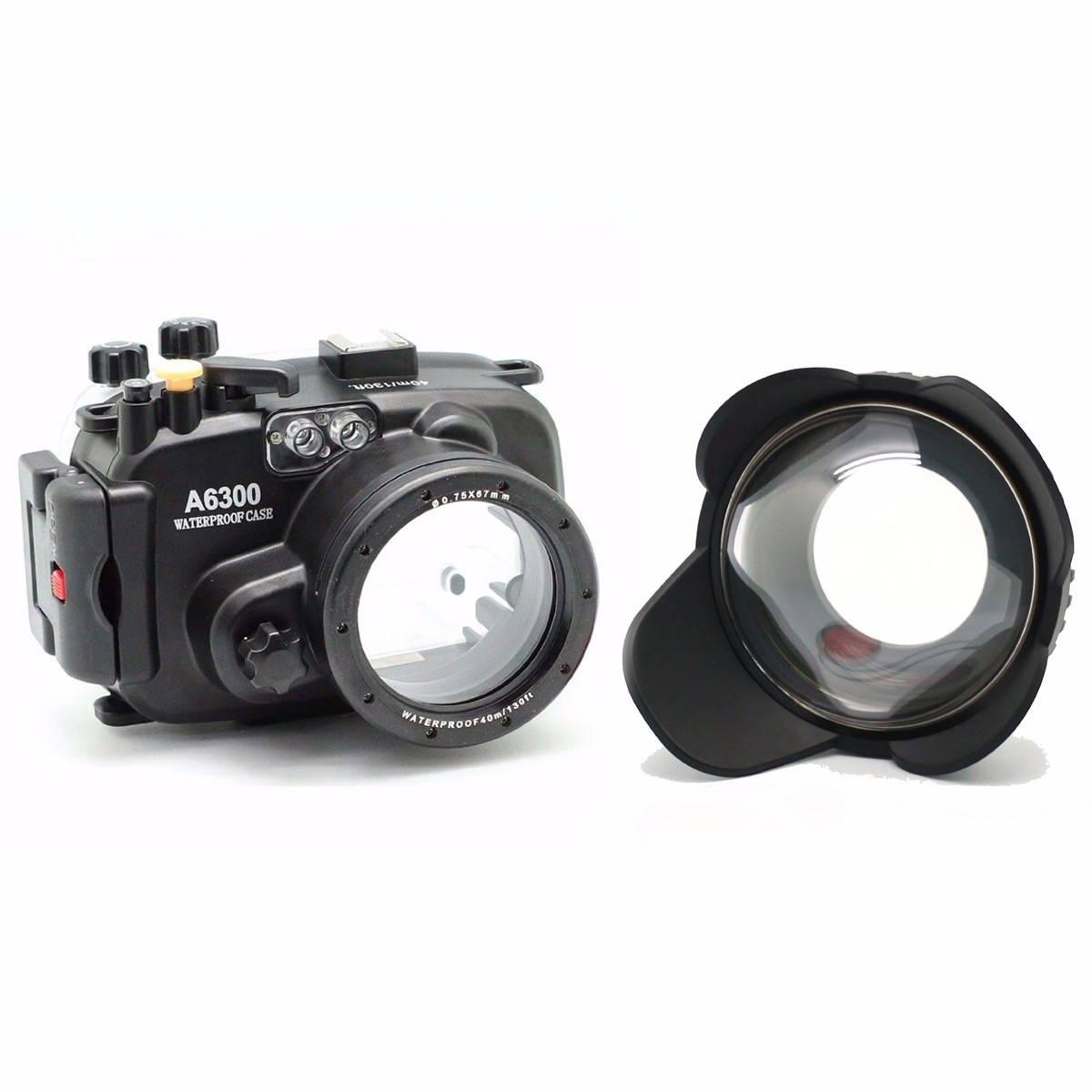 Meikon 130ft Underwater Camera Housing Case for sony A6300 Camera + Wide Angle Dome Port lens + 67mm red filter meikon бокс meikon для sony rx100 iii