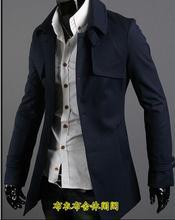 2016 grey blue black Korean teenage Single-breasted wool coat men trench jackets mens wool coats overcoats dress winter S – 3XL