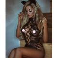 2017 Sexy lingerie hot black rose lace perspectiva SM cosplay uniformes gato teddy lingerie exposed peitos lenceria trajes sexy