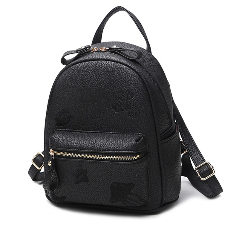 Vintage Women Backpack Simple Style Pink Backpacks For Teenage Girls Bag PU Leather Rucksack School Large